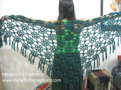 Lacy Flower Shawl - Left Handed Crochet Tutorial