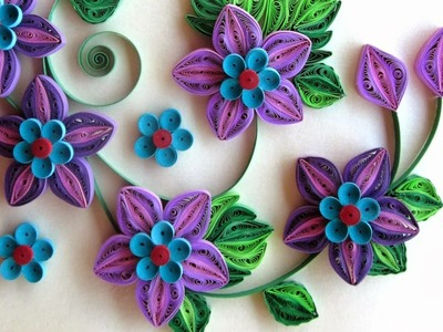 New : Art & Craft How to make Beautiful Quilling Blue.Pink Flower design -Paper Art Quilling