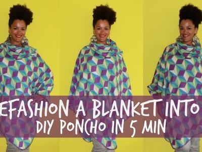 Refashion a Blanket into a DIY Poncho in 5 min | DIY Clothes