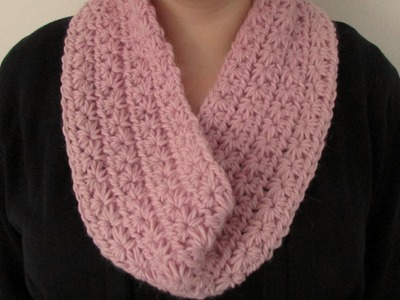 VERY EASY chunky crochet star stitch cowl. scarf. snood. infinity scarf tutorial