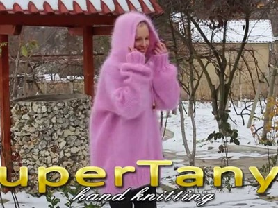 11.12.2012 Hand knitted pink fuzzy mohair sweater with hood by SuperTanya