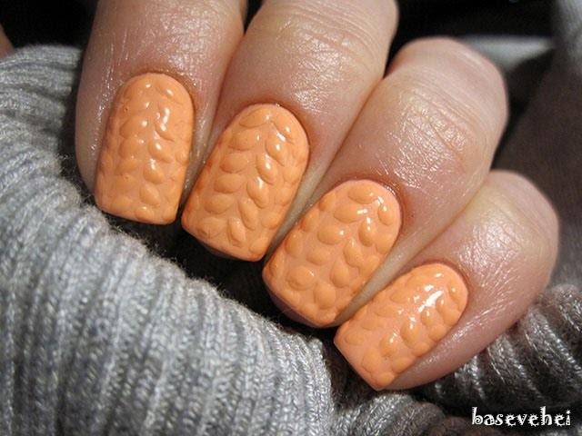 3D knit sweater soak off nails - Sweterek na paznokciach - Semilac 055