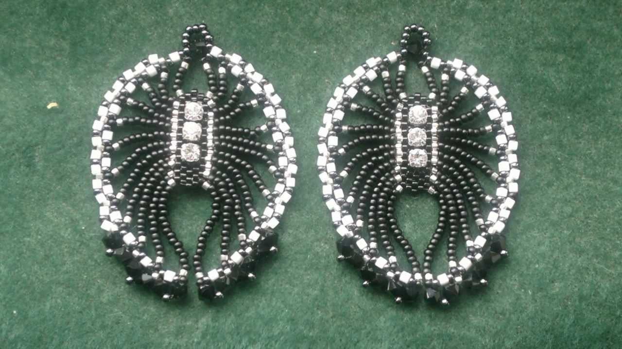 "Beading4perfectionists : 1920's Art Deco -""ish"" Spiderlike earrings brickstitch beading tutorial"