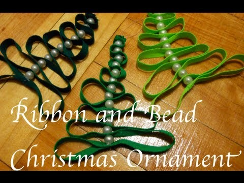 DiY: Ribbon & Bead Christmas Tree Ornament  ♡ Theeasydiy #Crafty