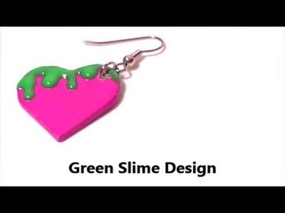 Green Slime Heart Earrings   DIY Jewelry by Craft Happy