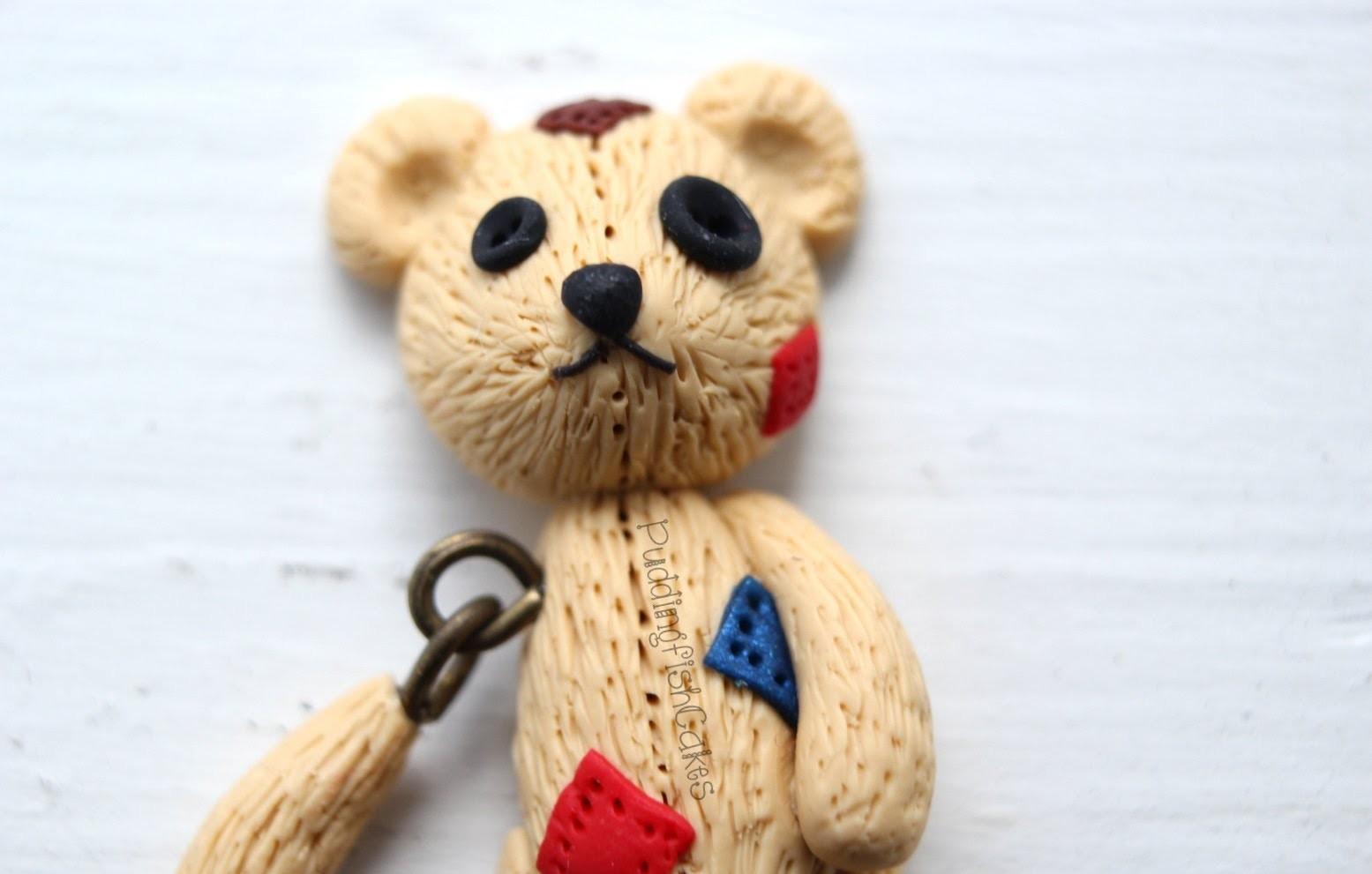 Halloween DIY: Broken Teddy Bear Dangling Polymer Clay Miniature Charm Stop Motion Tutorial