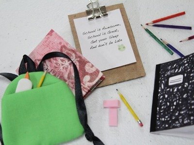 How to Make a Doll School Supplies: Book Bag | Doll Crafts