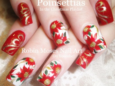 Nail Art Tutorial | DIY Christmas Nails Art | Poinsettia Nail Design