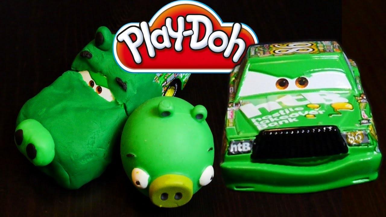 Play Doh Cars Angry Bird Creation - Disney Cars Toys Chick Hicks Play Dough DIY Tutorial!