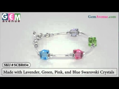 "SCBR034 Sterling Silver 7.5"" Bracelet with Lavender, Green, Pink, and Blue Swarovski Crystals"