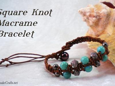 Square Knot Macrame Bead Bracelet Tutorial