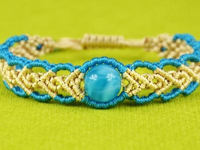 Wavy Herringbone Bracelet in two colors with a bead - Tutorial