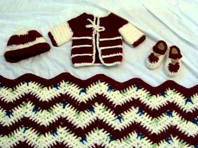Art of crochet by Zohra -Crochet Baby sweater ,hat,shawl and booties -