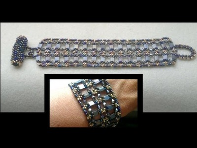 Beading4perfectionists : Tila Bracelet with Miyuki and Swarovski beads. Speedbead beading tutorial