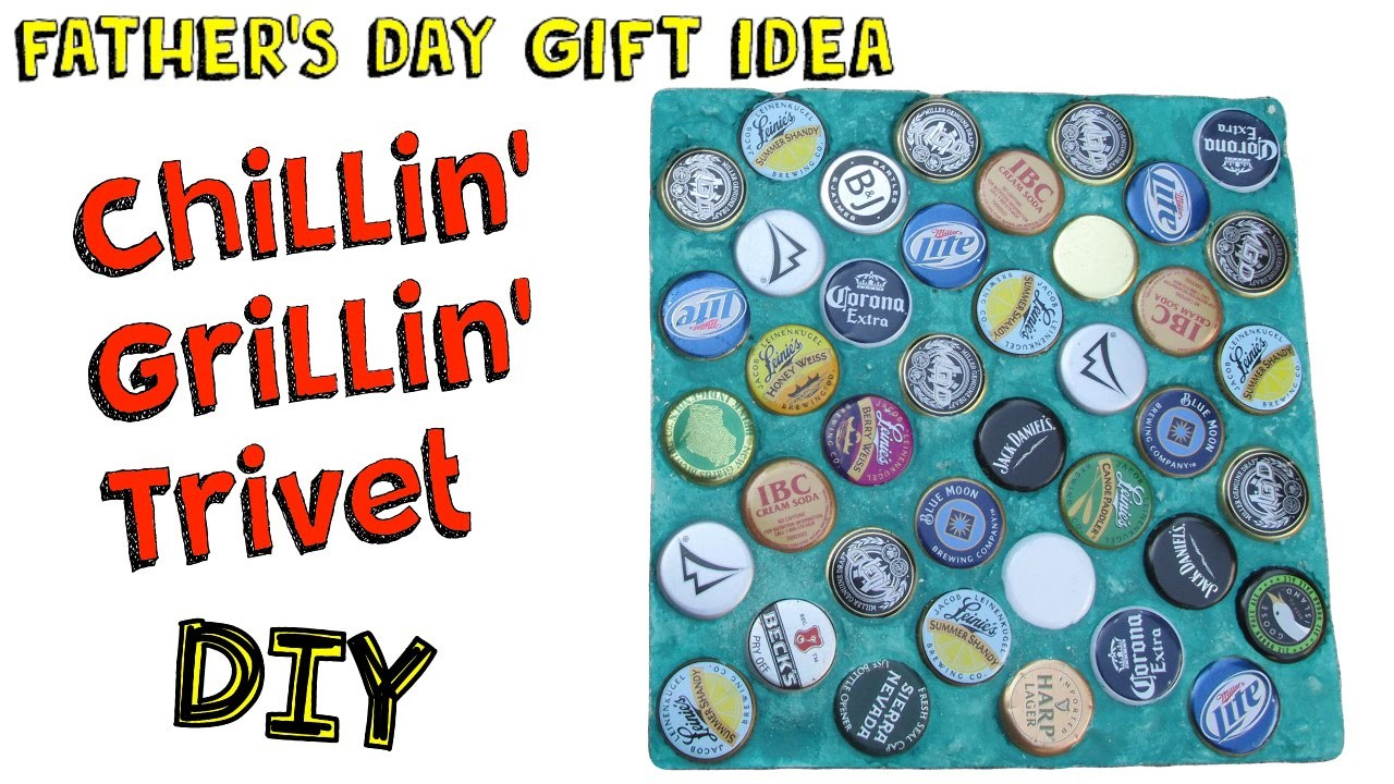 Chillin' Grillin' Trivet DIY  - Easy Bottle Cap Recycling Craft! Craft Klatch Father's Day Series