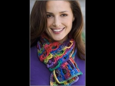Crochet Side to Side Scarf - Crochet Red Heart Pattern LW2244