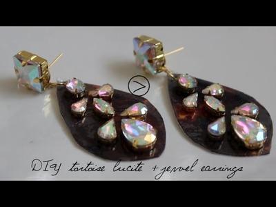 {DIY} Tortoise Print and Jewel Earrings by Miss Kris