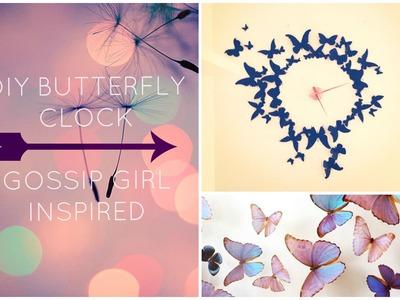 DIY Wall Decor Butterfly Clock | Gossip Girl Inspired