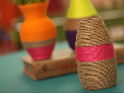 How to Make String Wrapped Vases || KIN DIY