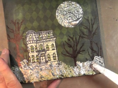 I art: mixed media hallowe'en canvas with Claudine Hellmuth's stamps