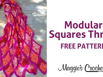 Modular Squares Throw Free Crochet Pattern - Right Handed