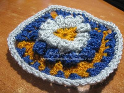 Popcorn Granny Square - Left handed Crochet Tutorial