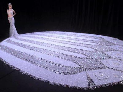 "World's Largest Beaded Wedding Dress: Gail Be Designs ""Fantasy"""