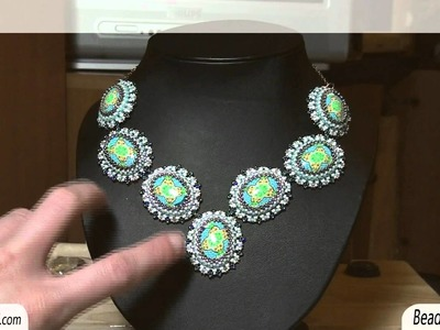 BeadsFriends: Beaded bezel cabs necklace - Necklace with polymer clay cabochons | Beaded Jewelry