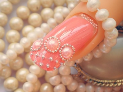 CORAL PEARLS BEADS AND LACE DESIGN ACRYLIC EASY NAIL ART | Step by Step Tutorial