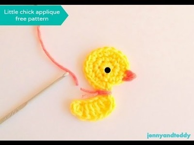 Crochet little duck or chicken applique free pattern