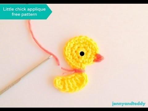 Crochet little duck or chicken applique free pattern