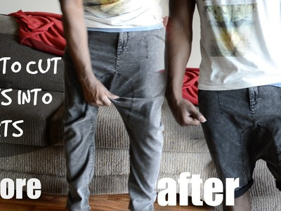 DIY How to Cut Harem Pants.Joggers into Shorts Tutorial - @dyrandoms