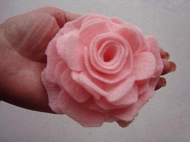 FELT ROSE FLOWER - Fabric Flower, how to diy, make a flower accessory, handmade flower