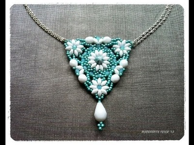 How to make a triangle pendant with superduo beads | diy beadwork