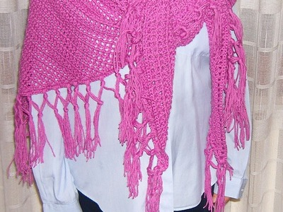 Scialle a filet con frange all'uncinetto - Crochet fringed shawl tutorial (ENG SUB) parte 1.2