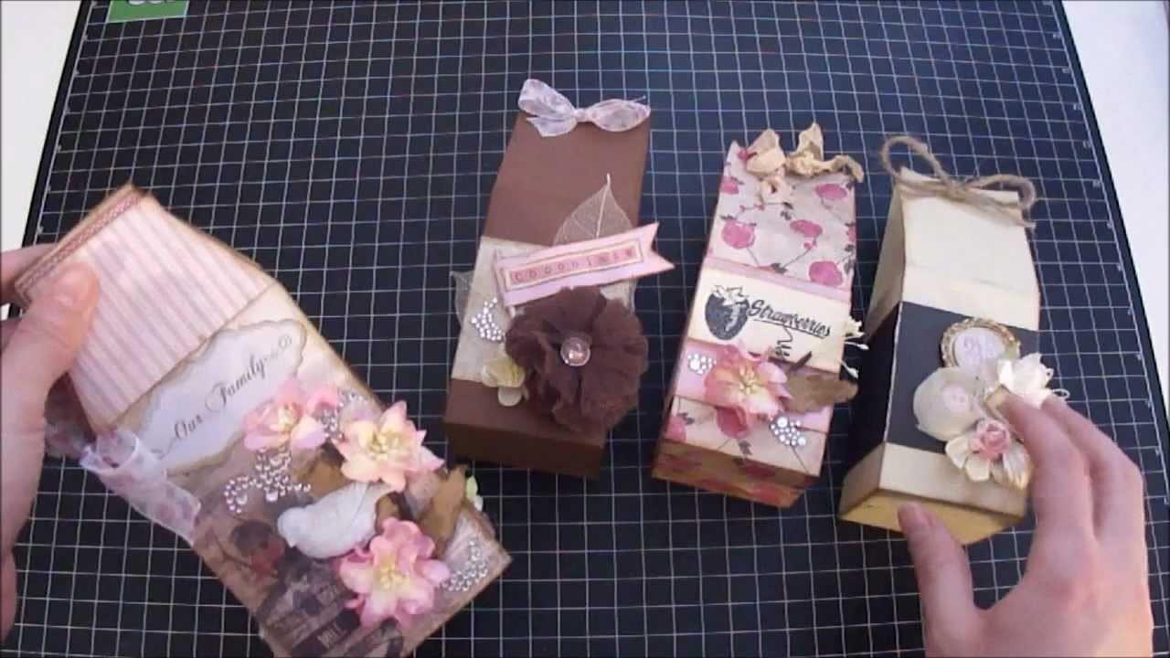 Scrapbook Mini Album - Milk Carton Shaped mini album and treat boxes - Start to Finish Tutorial