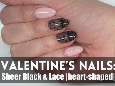 Valentine's nails: Sheer Black & Lace (heart)   rajstopka + koronkowy manicure    My Wonderland
