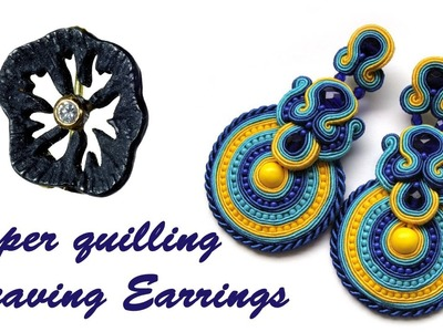 "Art & Craft: How to Make ""Paper Weaving Earrings"" in 2 colors using Paper Art -Quilling Made Easy"