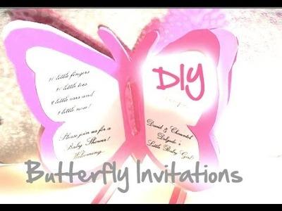 DIY Baby Shower.Wedding Butterfly Invitations