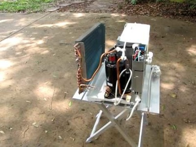 DIY hybrid water heater and air conditioner for my solar trailer project