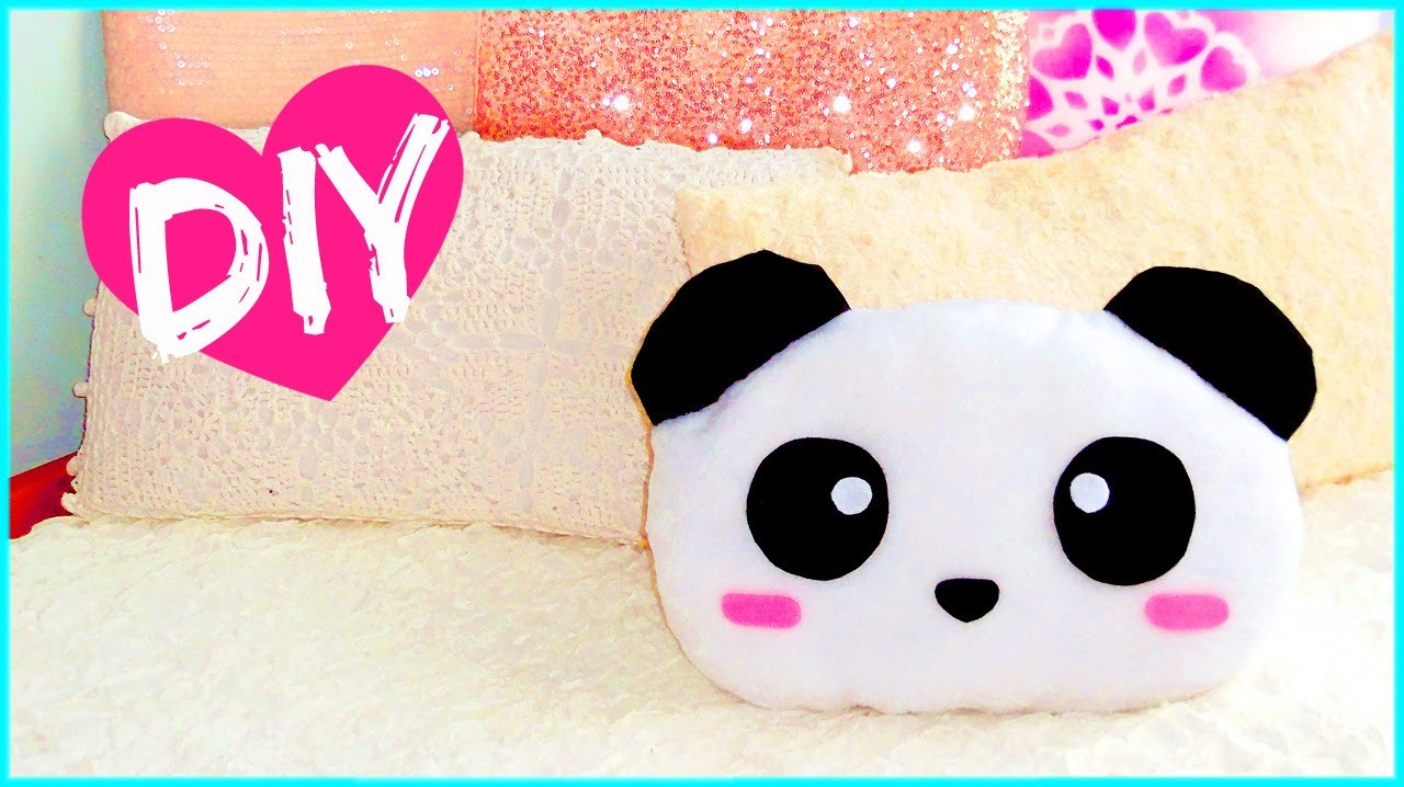 DIY ROOM DECOR! Cute panda pillow (Sew.no sew) | Lovely gift idea!