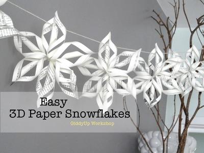 Easy 3D Origami Paper Snowflake Tutorial
