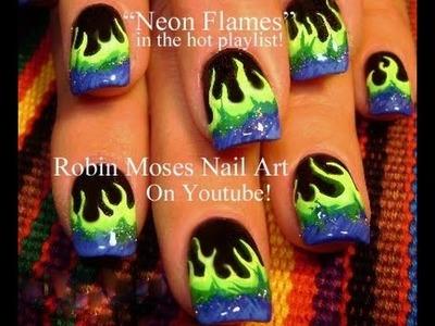 Easy Nail Art Designs | DIY Neon Flames Nails Tutorial