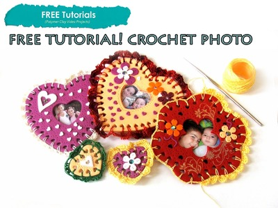 PolyPediaOnline TV - FREE How to Polymer Clay Crochet Heart.Flower Decoration Photo Frame Magnet