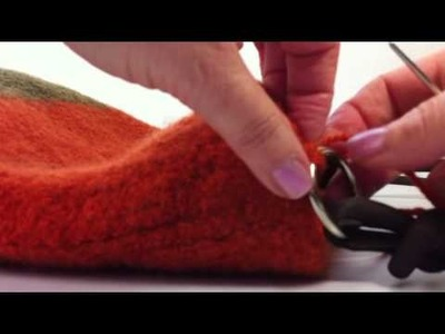 Sewing Handles onto a Felted and Knitted bag