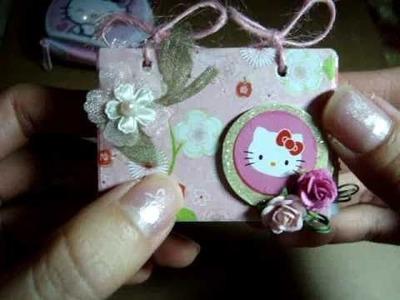 Teenie Weenie Hello Kitty Mini Scrapbook Album in a Hello Kitty Tin Keychain