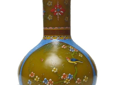 Chinese Imperial Yellow Bird & Flower Hand Painting Peking Glass Vase f924