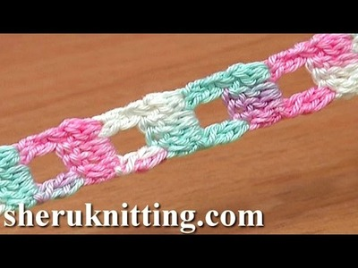 Crochet Cord Square Holes Tutorial 11 Two-Double Crochet Cluster Stitch