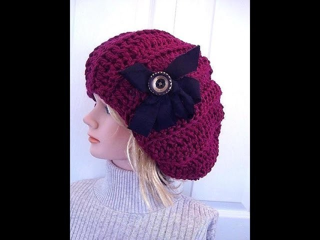 CROCHET PATTERN, SLOUCHIE HAT, ADULT SIZE.  How to diy