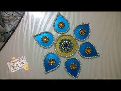 DIY - How to make beautiful rearrangeable kundan rangoli using waste box - Best out of waste